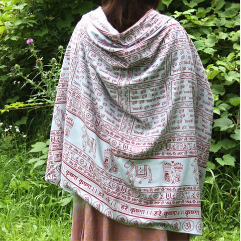 Pearl Grey Large Meditation Yoga Prayer Shawl - Maha Mantra Shawl
