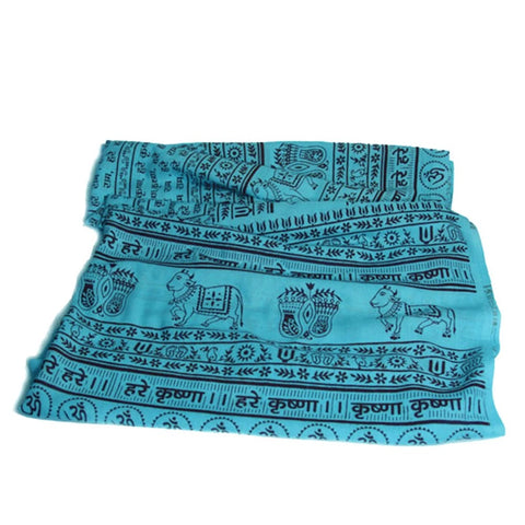 Aqua Turquoise Large Meditation Yoga Prayer Shawl - Maha Mantra Shawl