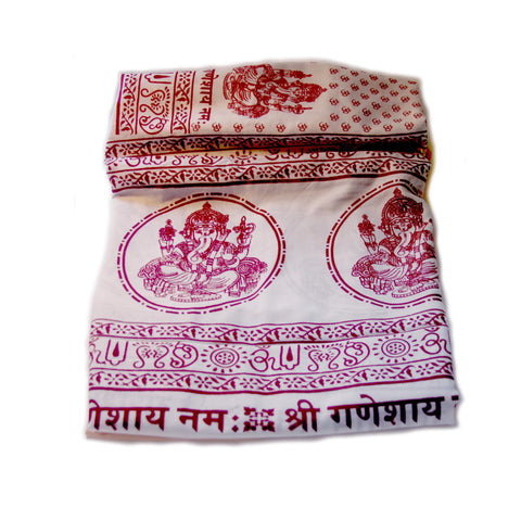Pure White Large Meditation Yoga Prayer Shawl - Ganesh Ganapati Shawl