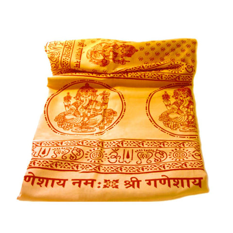Gift Set Ganesh Yellow Shawl and Black Tulsi Necklace Semi Precious Ruby Stones