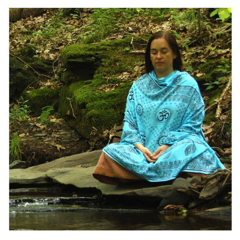 Om Aqua Turquoise Large Meditation Yoga Prayer Shawl - Mantra Om Aum Shawl