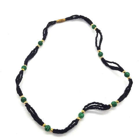 Tulsi Tulasi Necklace Black Colored Tulsi with Semi Precious Stones- Malachite