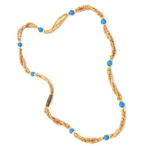 Tulsi Tulasi Necklace 100% Pure Tulsi with Semi Precious Stones- Turquoise