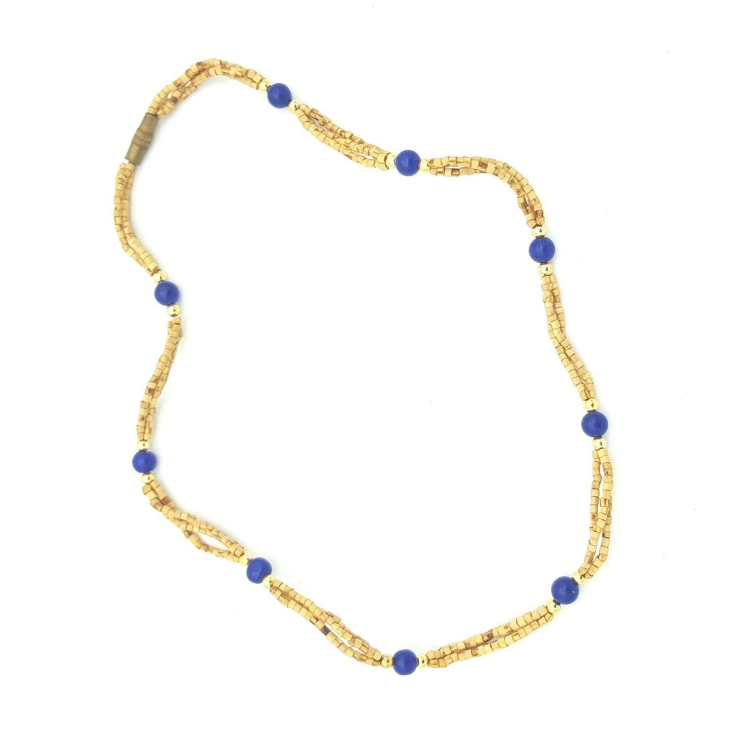 Handmade Tulsi Tulasi Necklace 100% Pure Tulsi with Semi Precious Stones- Lapis
