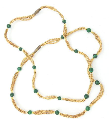 Tulsi Tulasi Necklace 100% Pure Tulsi with Semi Precious Stones- Malachite