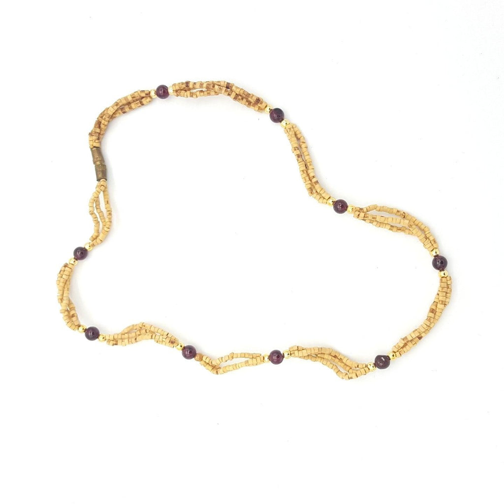 Tulsi Tulasi necklace 100% Pure Tulsi with Semi Precious Stones- Garnet