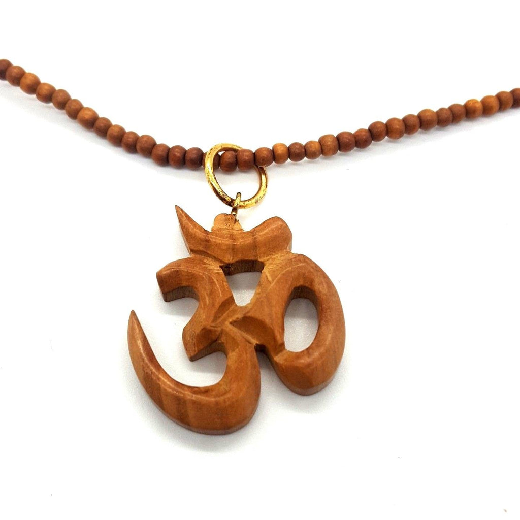 OM- Natural India Wood Necklace with Sacred OM Symbol Pendant (Handmade)