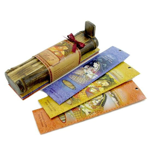 Incense Gift Set - Bamboo Burner + 3 Incense Sticks Packs and Holiday Greeting