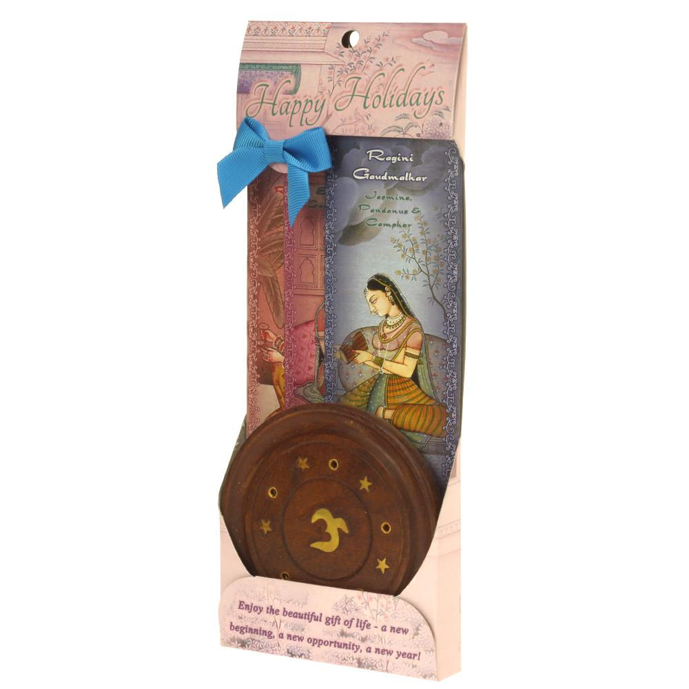 Incense Gift Set - Wood Round Burner 3Harmony Incense Sticks & Holiday Greeting