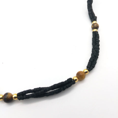 Tulsi Tulasi Necklace Black Colored Tulsi with Semi Precious Stones- Tiger Eye