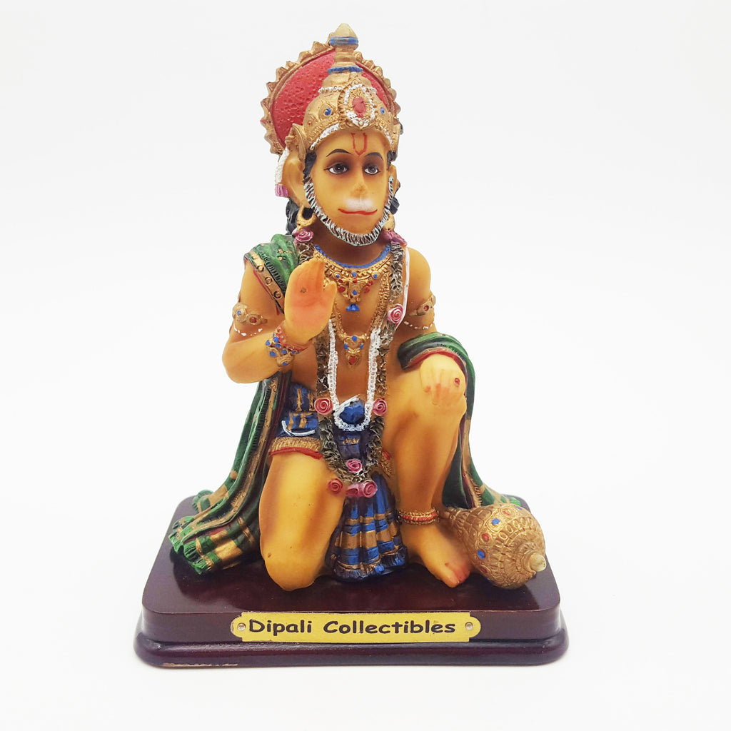 India Monkey God Lord Hanuman Statue Figurine Painted Marble-powder 5.5""