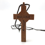 Medugorje Saint Benedict Crucifix Cross Handcrafted Wooden Silver Cord Necklace