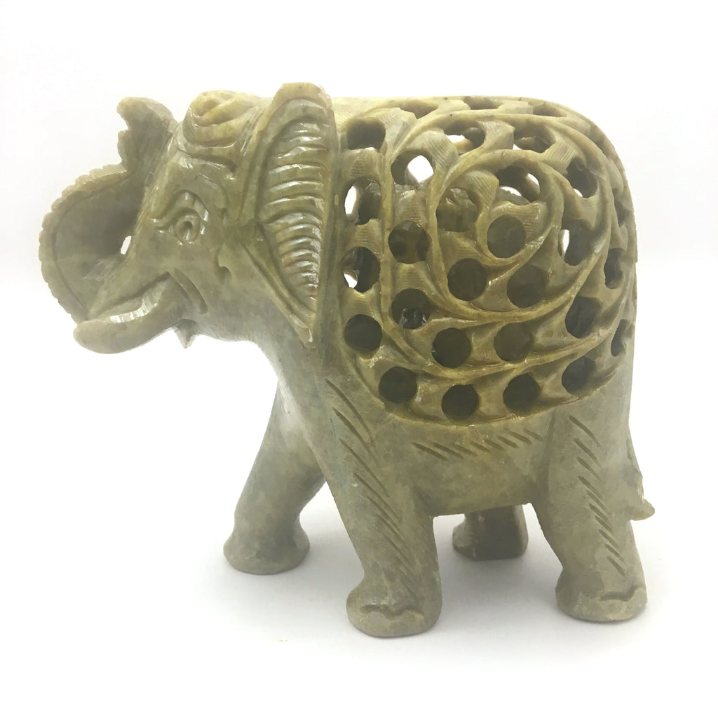 Soapstone Elephant Statue Figure with Inside Baby Elephant Handcrafted - Green
