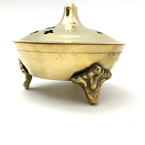 "Decorative Brass Incense Charcoal Resin Burner Holder Jali 3"" - Handcrafted Indi"