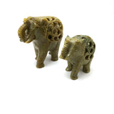 Pair Soapstone Elephants India Handcrafted with Inside Baby Elephant - Green