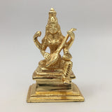 Gold-Plated Saraswati Divine Mother Statue Hindu Goddess with Veena-Handcrafted