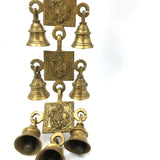 7 Brass Bells Hanging Decorative Carved - India God Lord Krishna Playing Flute 1