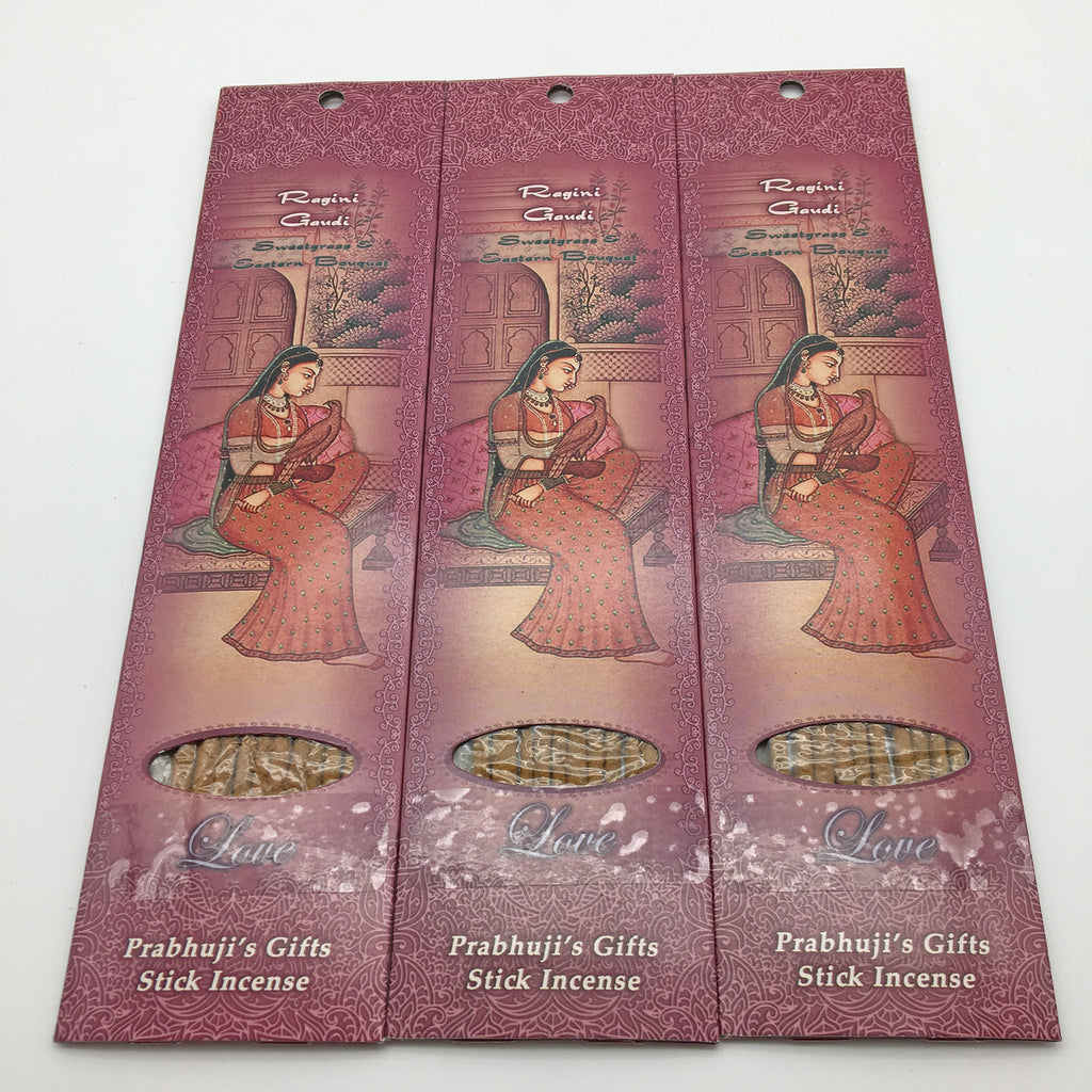 Authentic 3-Pack 10-Incense Sticks Ragini Gaudi- Sweetgrass and Eastern Bouquet