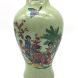 "Oriental Crackle Ceramic Vase Hand-painted Women in Nature Vase 9.25""- Green"