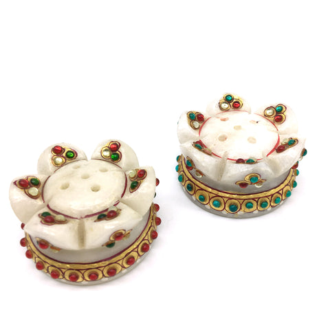 2-Handcrafted India Marble Flower Shaped Decorative Stick Incense Burners