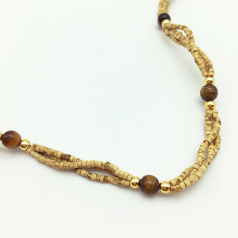 Tulsi Tulasi Necklace 100% Pure Tulsi with Semi Precious Stones - Tiger Eye