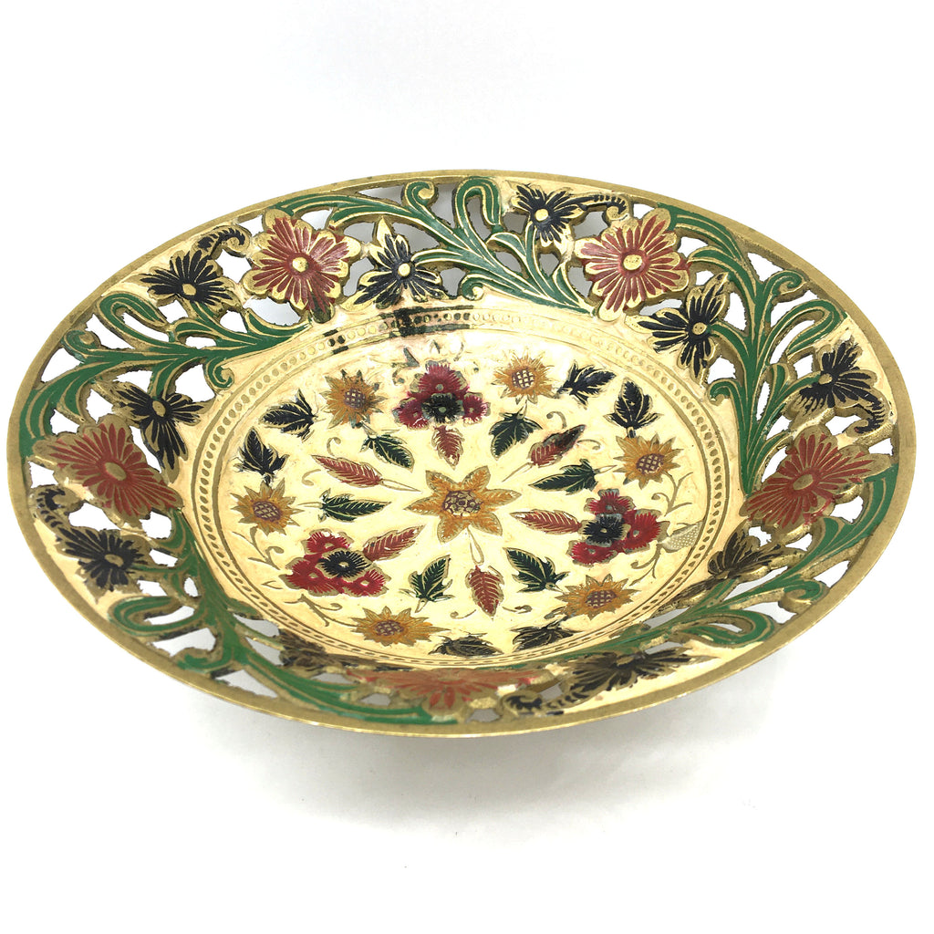 Ornate Brass Cutout Bowl Centerpiece Brass - Colorful Detailed India Handmade