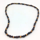 "Rosewood and Sandalwood Beads Decorative Necklace 7"" Long - New Unused"