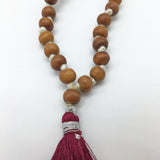 "Prayer Mala Beads Chanting Japa- Sandalwood Chandan- 108 Prayer Beads 15"" Long"