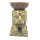 "Elephant Oil Burner Oil Diffuser 3-Piece Hand-Carved Natural Soapstone 5"" Long"