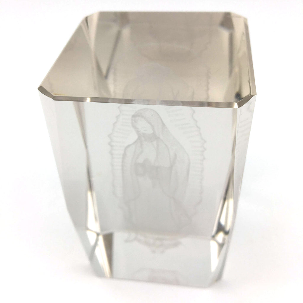 Decorative Virgin Mary 3D Laser Etched Crystal Glass Paperweight 3""