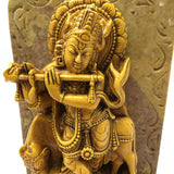 India Krishna with Flute on Resin and Soapstone Base Statue Handmade Figurine