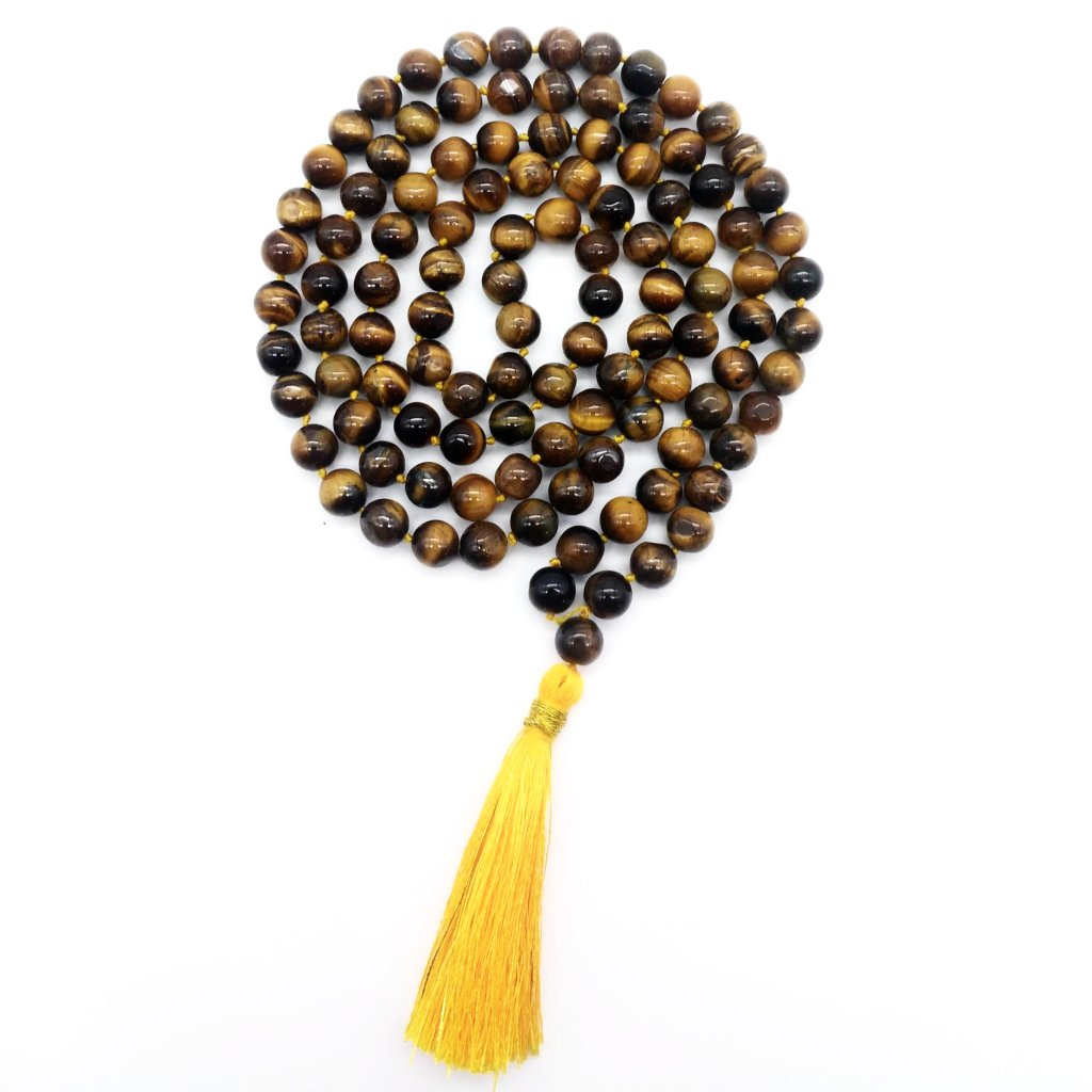 Tiger Eye Prayer Mala Beads Chanting Japa- Handmade India- 108 Prayer Beads