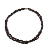 "3-strand Natural Dark Beads Rosewood Handmade Braided Necklace 15"" Long"