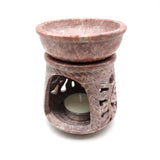 Soapstone Oil Diffuser Oil Burner Tealight Candle Holder Hand-carved India 4""