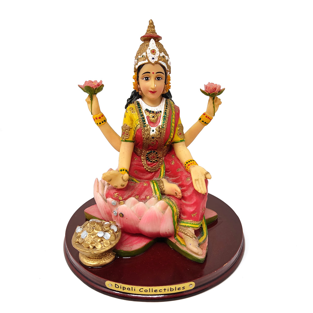 India Goddess Mother Lakshmi Statue Goddess Of Prosperity Figurine Statue 6.25""