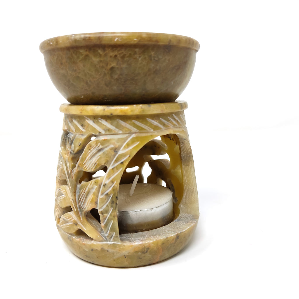 "Green Soapstone Oil Diffuser Oil Burner Candle Holder Hand-carved India 3.5"" Tall"