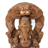 Vintage Ganesh Ganapati India Elephant God Wood Hand-carved Wall Hanging 18""