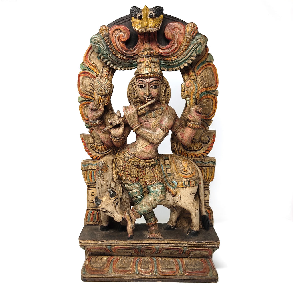 Venugopala Krishna Wood Carving Wall Hanging Hand-carved Hand-painted 18.25""