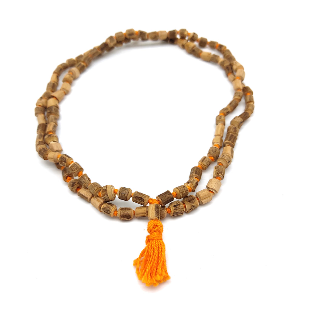 Tuali Japa Mala Beads - Holy Tulsi Tulasi- 108 Knotted Mediation Prayer Beads 20""
