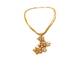 Fashion Three Strand Gold Tone Necklace W/Lovely Flowers Studded Pendant 9.75""