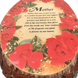 "Natural Wood Slab Tree Bark Plaque Wall Hanging Mother Roses Decorative 10"" Tall"