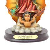 "Our Lady of Guadalupe Blessed Virgin Mother Mary 11.25"" Resin Statue Wood Base"