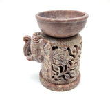 Soapstone Elephant Oil Burner Oil Diffuser Tealight Candle Holder Handmade 4.25""