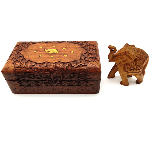 Wood Jewelry Trinket Box Decorative Keepsake With Wood Elephant Figurine Statue