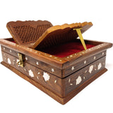 Folding Decorative Wooden Book Stand With Book Storage Box Hand Carved 13.75""