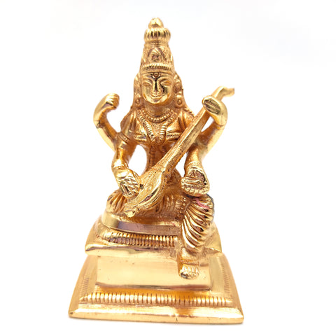 Gold-Plated Saraswati Divine Mother Statue India Goddess W/Veena Handmade 3""