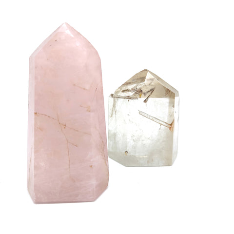 Crystal Quartz And Rose Quartz Clear Point Mineral Healing Specimen Gemstones
