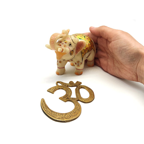 Brass Aum Om Symbol And Elephant Trunk Up Gilded Statue Figurine -Beautiful Set