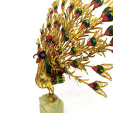 Peacock Cloisonne Sculpture Enamel Filigree Feathers Jade Green Base Statue 10""