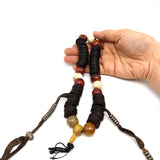 RARE Yak Bone Tibetan Mala Prayer Beads Carnelian Naga Copal Beads W/Counters